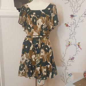 H&M Sheer Floral Ruffled Tie Shift Dress Green 8